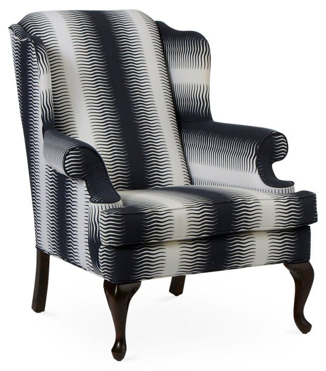 Navy High Wingback Accent Chair With White Stripe: Charles Wingback Chair, Navy Deco Stripe