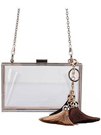 284abb83ba01a Lam Gallery Women s Clear Acrylic Perspex Evening Clutch Purse Handbag  Chain Shoulder Bag Transparent ❤ .