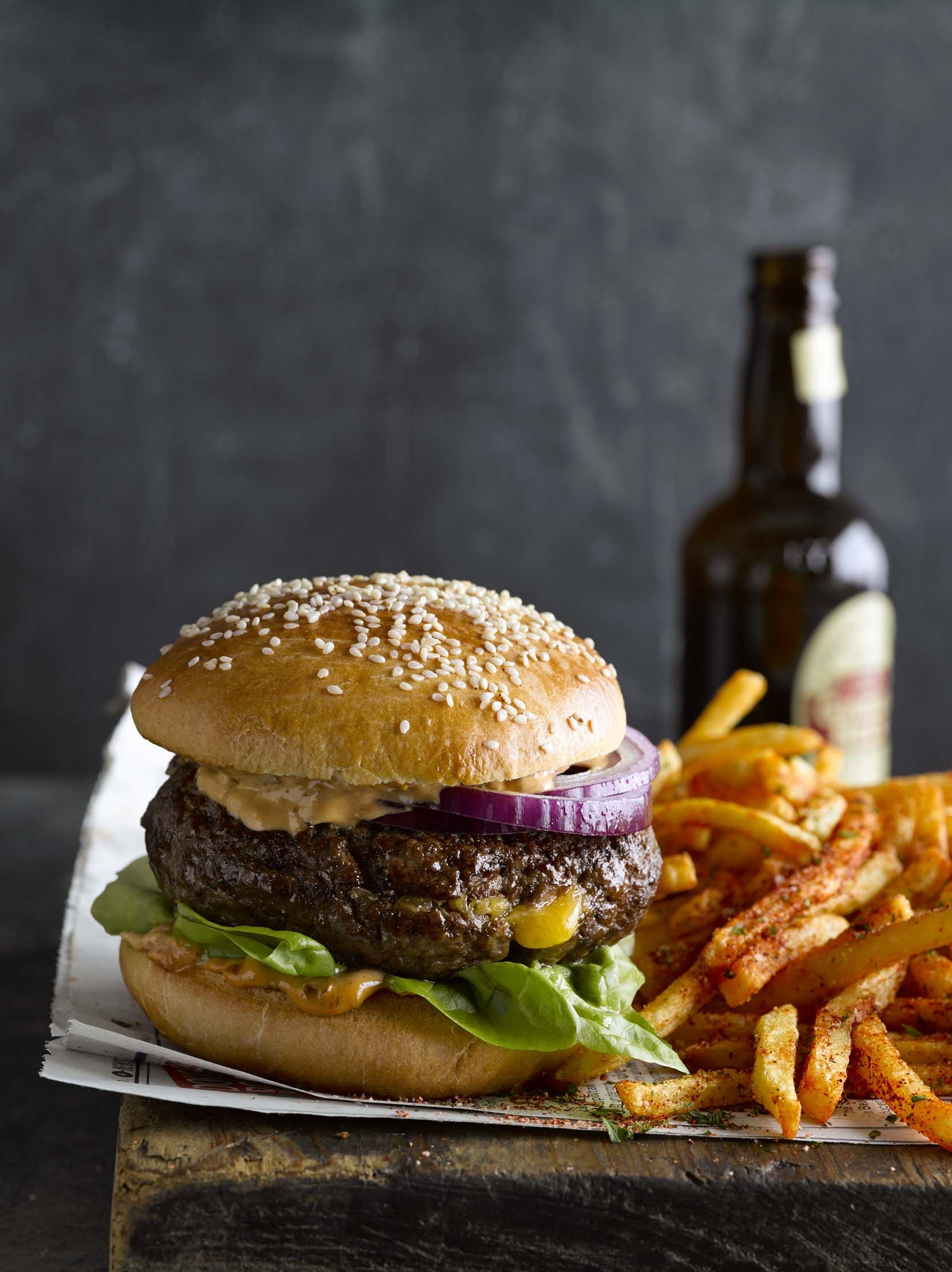 CheddarStuffed Burgers with AirFried French Fries