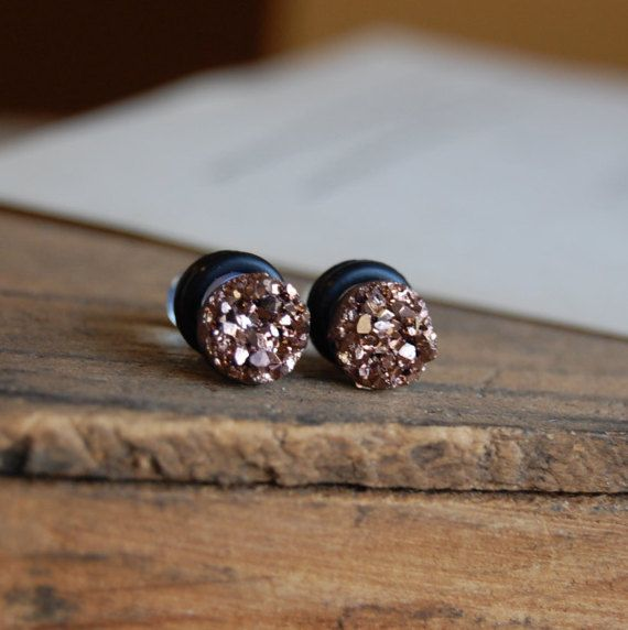 6mm 4mm 2g 00g 8mm 6g 0g 12mm  Rose Gold Faux Druzy Rough Crystal Plugs for stretched earlobes Druzy gauges. 10mm