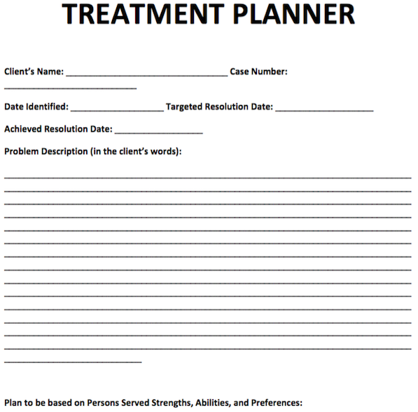 Treatment Planner Template  Free Counseling Note Templates
