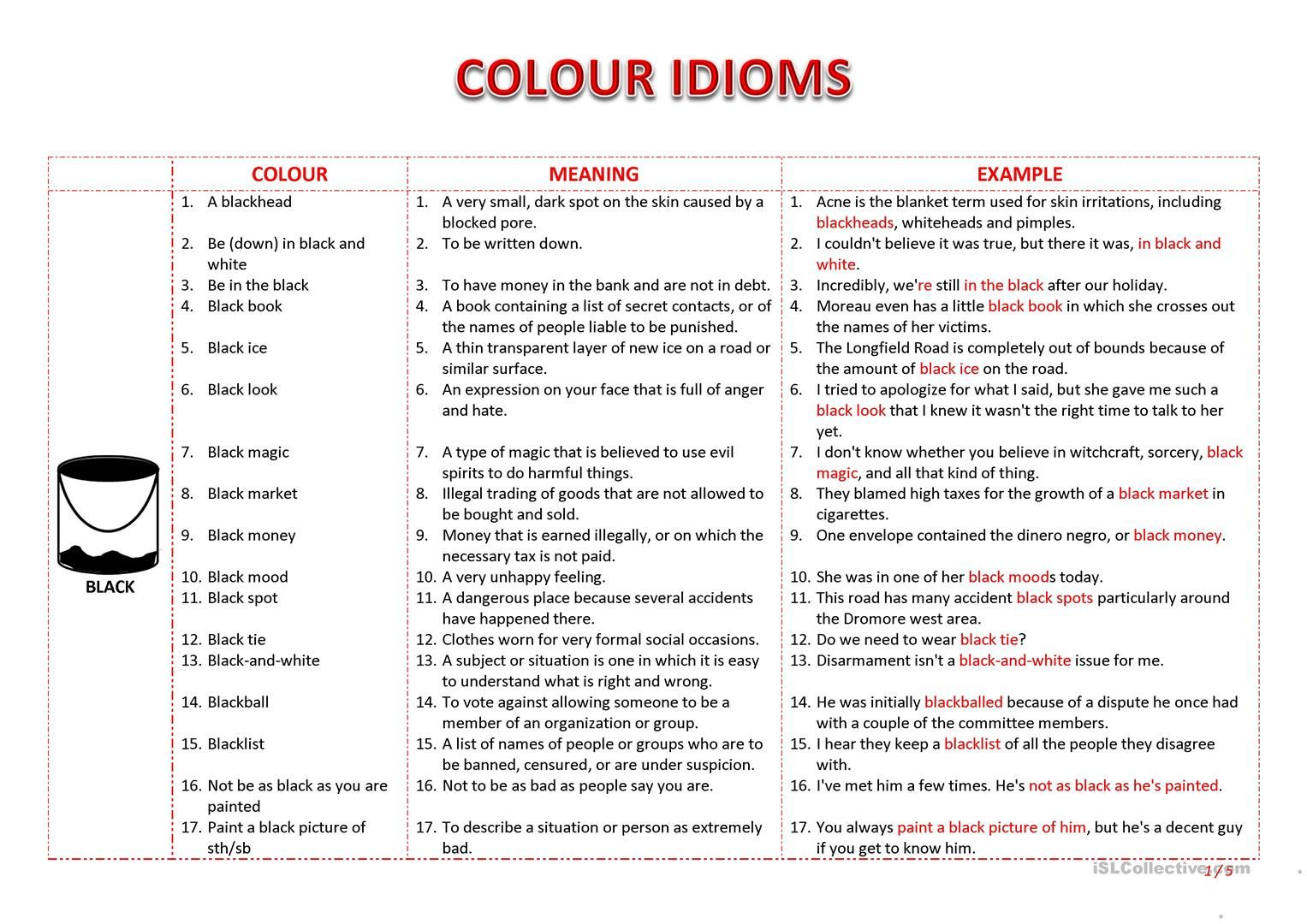 Colours Idioms Worksheet