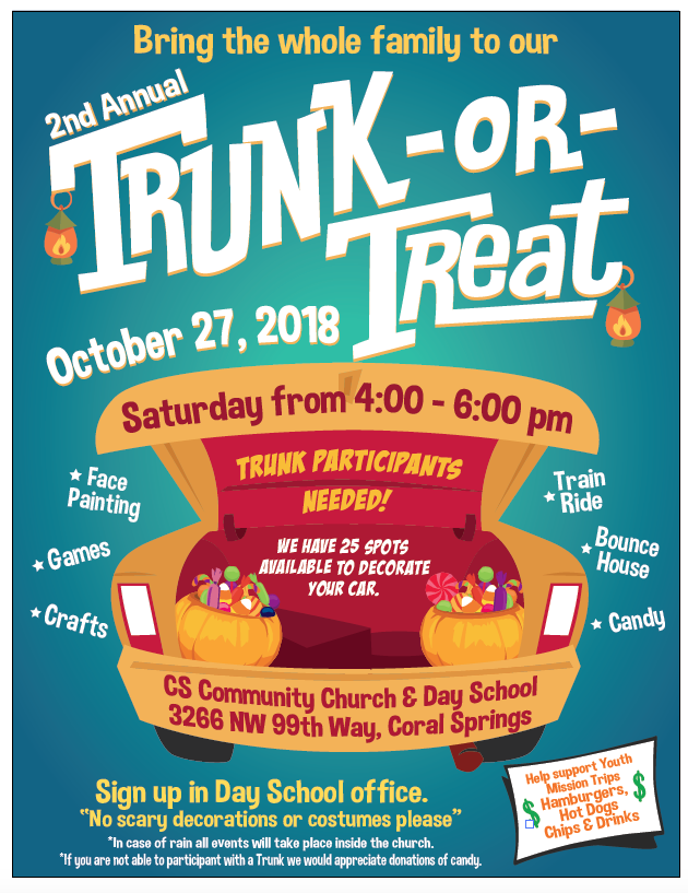 Trunk Or Treat Flyer And Poster Trunk Or Treat Treats Flyer