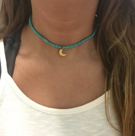 Turquoise stretch choker necklace with moon attraction