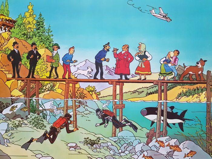 Hergé - Poster Tintin et le Lac aux requins Levitan + 11 personnages