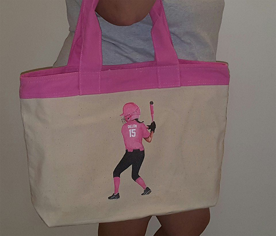 This tote bag was designed by one of our customers.  It features her favorite softball player-her daughter!