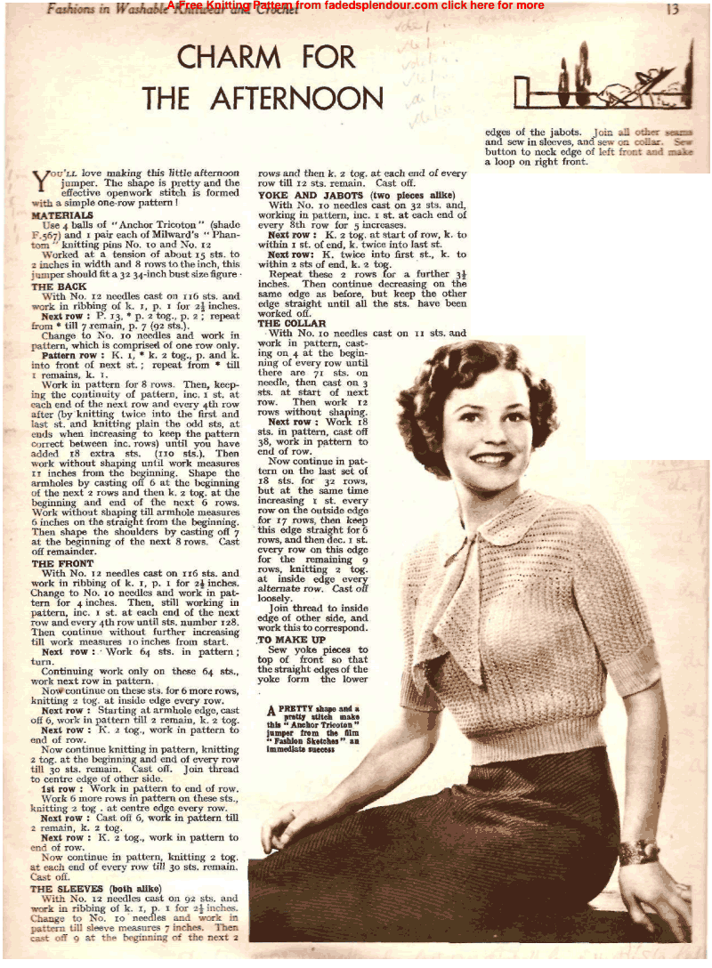 Free vintage knitting pattern -- 1940\'s jumper. | Knitting Kitten ...