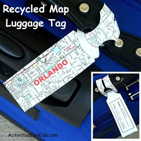 Luggage Tag Recycled Map Craft For Kids Disney Trips And Crafts - Map of locations available to recycle in the us