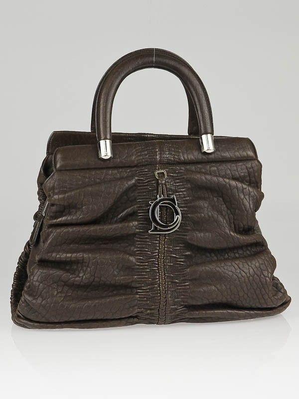 Christian Dior Brown Lambskin Leather