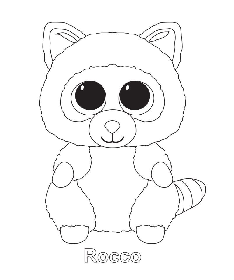 - Rocco The Raccoon TY Beanie Boo Beanie Boo Birthdays, Penguin Coloring  Pages, Beanie Boo Party