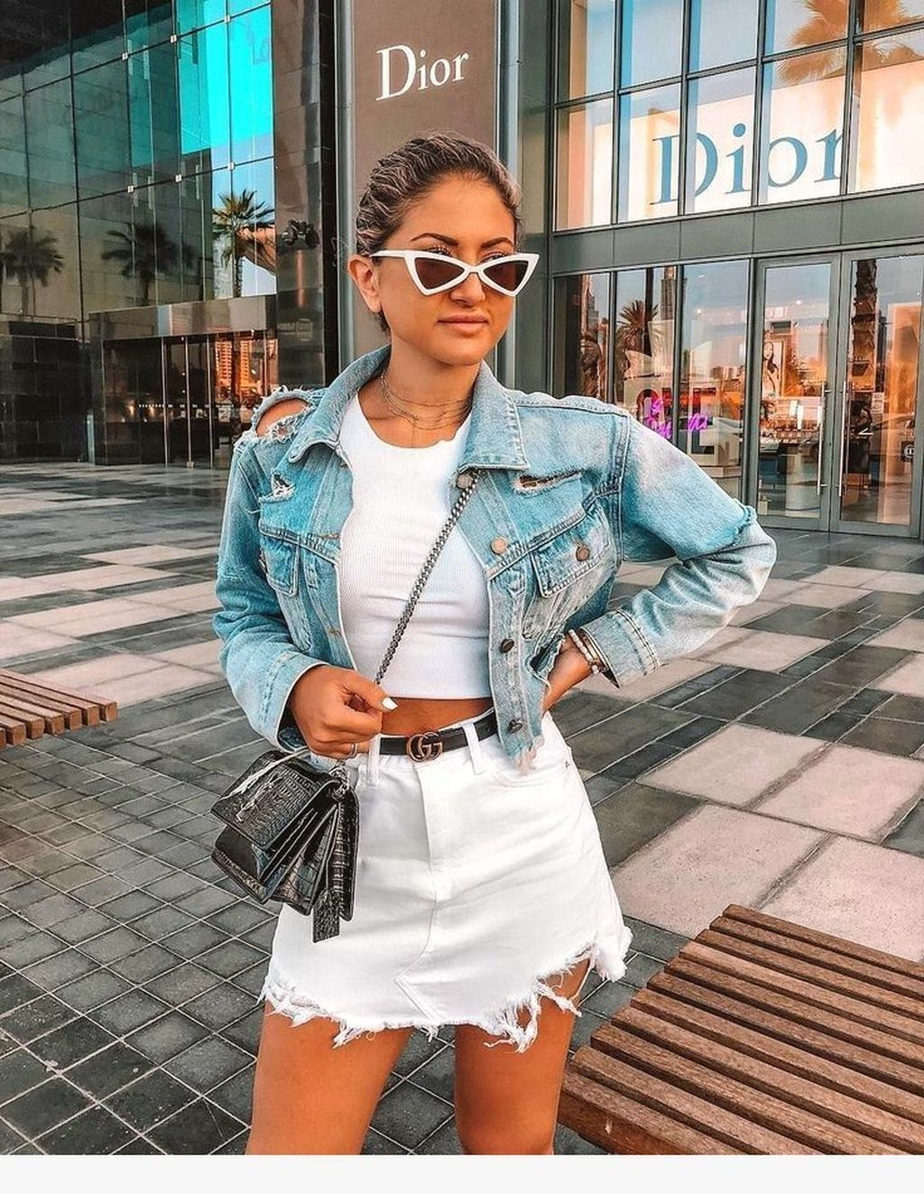 20 Fashionable Denim Skirt Outfits Ideas For Fall Denim Skirt Outfits Denim Outfit Skirt Outfits Summer [ 1323 x 1024 Pixel ]