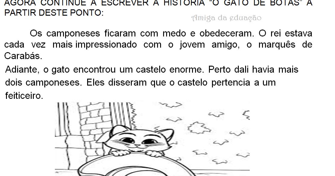 Producao De Texto Da Historia O Gato De Botas O Gato De Botas