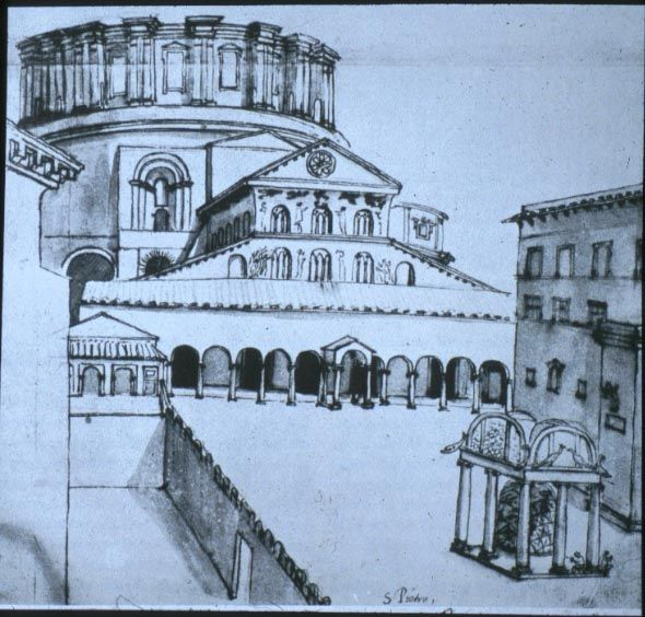 16th century drawing (by Grimaldi) of the Old St Peters with the construction of the new Basilica in the background