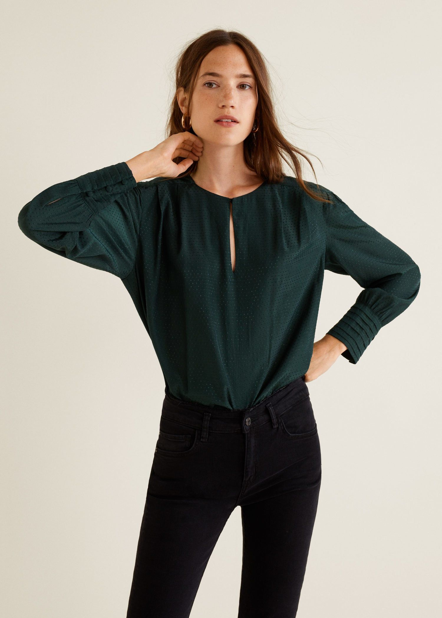 27fb6201f Pintuck detail blouse Blouses For Women, Green Blouse, Shirt Blouses,  Shirts, Pin