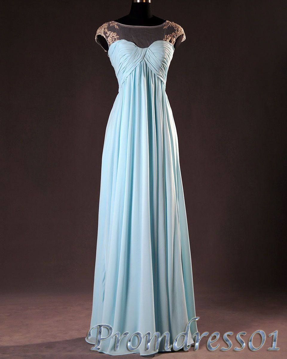 elegant simple ice blue chiffon lace long prom dress for teens