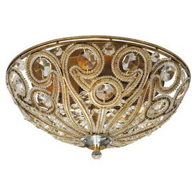 Portfolio 13-in W Antique Gold Crystal Accent Ceiling Flush Mount ...:Portfolio 13-in W Antique Gold Crystal Accent Ceiling Flush Mount,Lighting