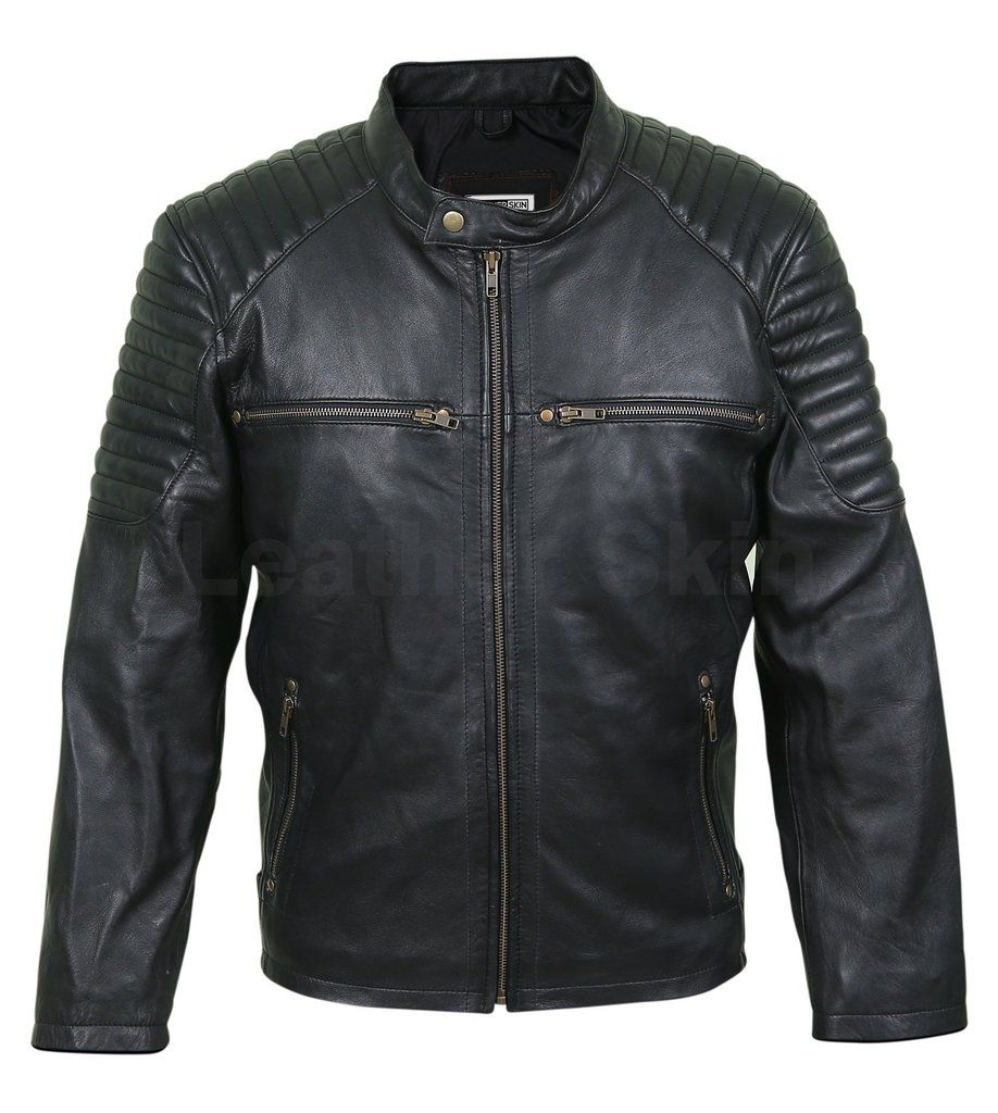 Men Antique Zippers Black Leather Jacket With Padded Shoulders Leather Jacket Men Best Leather Jackets Men S Leather Jacket [ 1024 x 918 Pixel ]