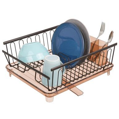 mDesign Large Kitchen Sink Dish Drying Rack, Swivel Spout, Satin/Clear Frost, Metal, 16 x 13.82 x 4.65 #dishracks