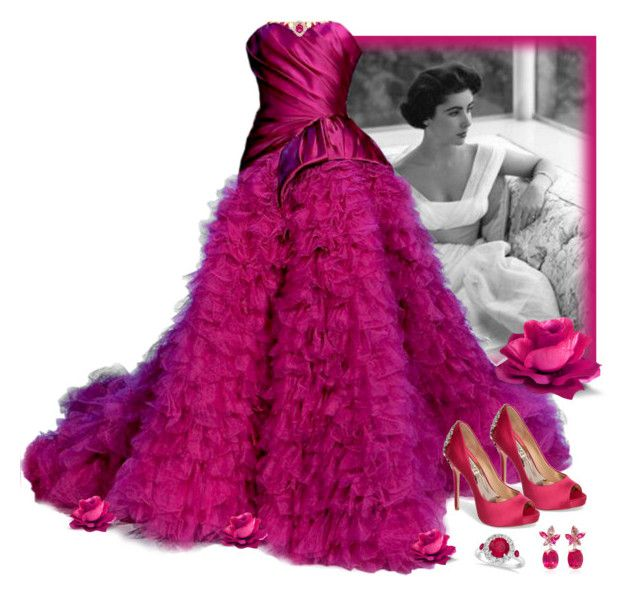 Elizabeth Taylor and dark pink gown\