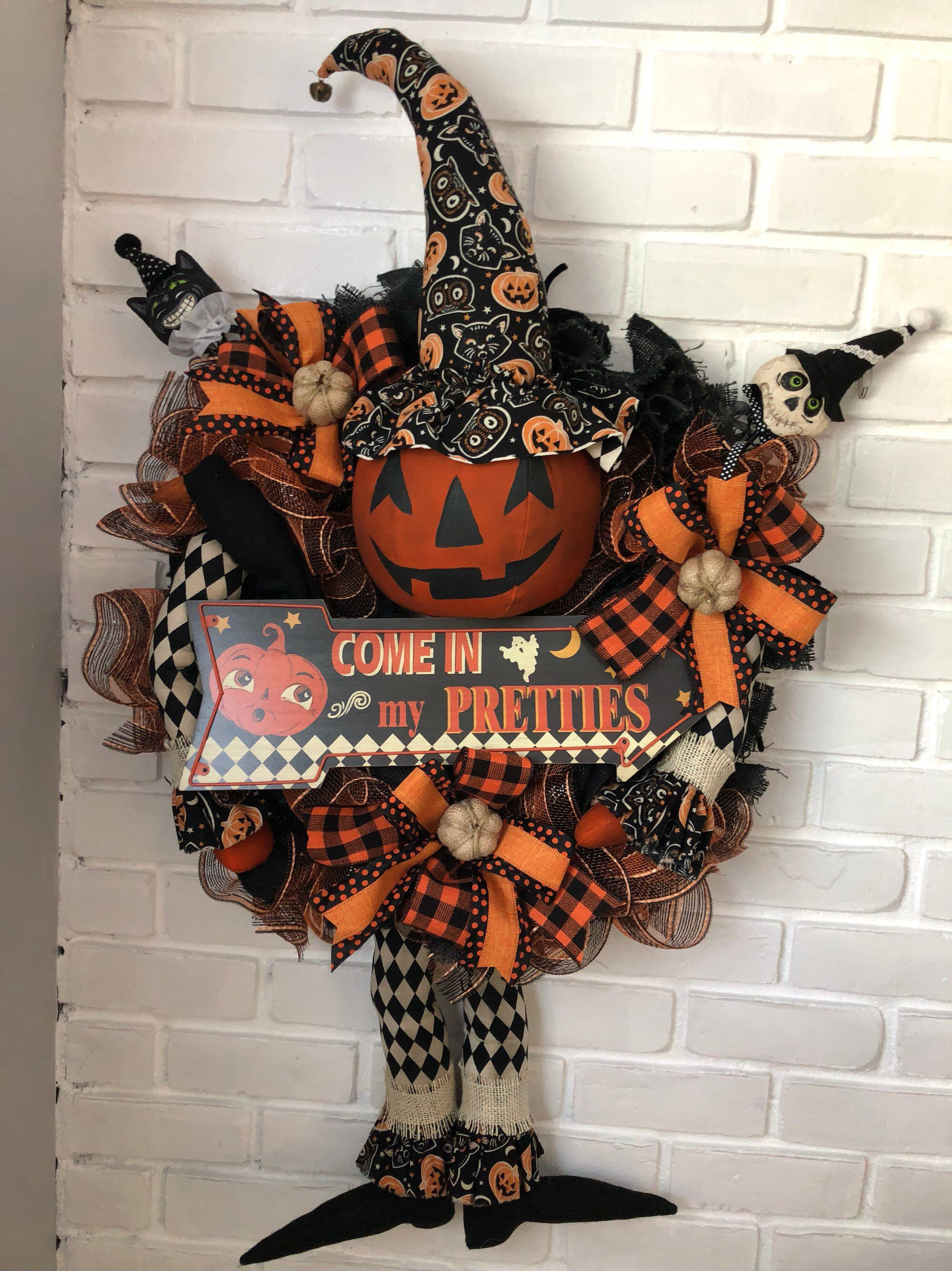Pumpkin wreath, primitive pumpkin, halloween wreath, wreath for - Primitive Halloween Decor