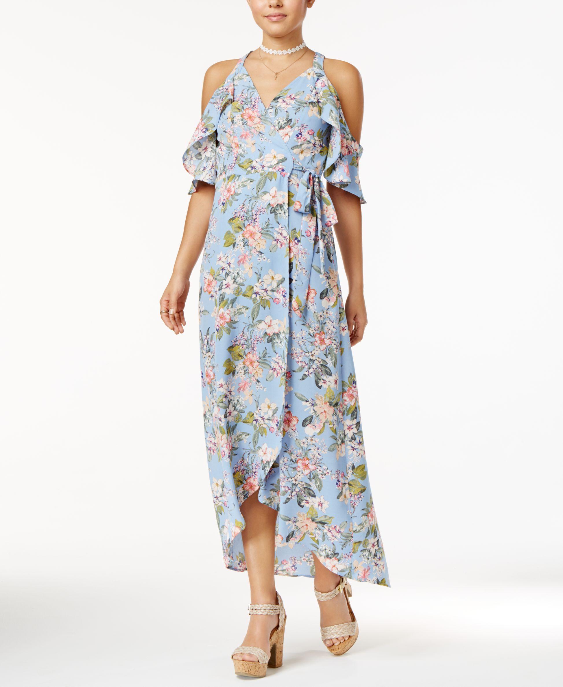 69ce8e31eab Trixxi Juniors  Printed Cold-Shoulder Maxi Dress