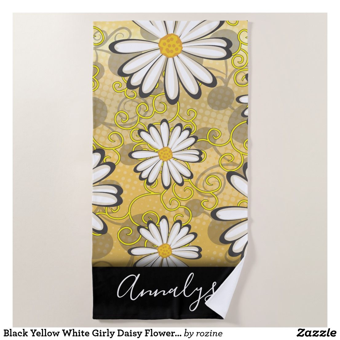 Black Yellow White Girly Daisy Flowers Polka Dots Beach Towel