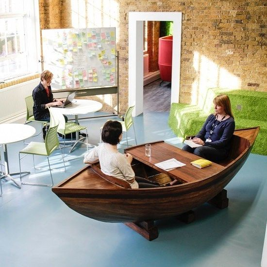 Aboat time you spiced up your morning meetings? #aboattime #startuplife #officeporn #boat #desk #meeting #design #office Win 6 months free rent in this office, link in bio.