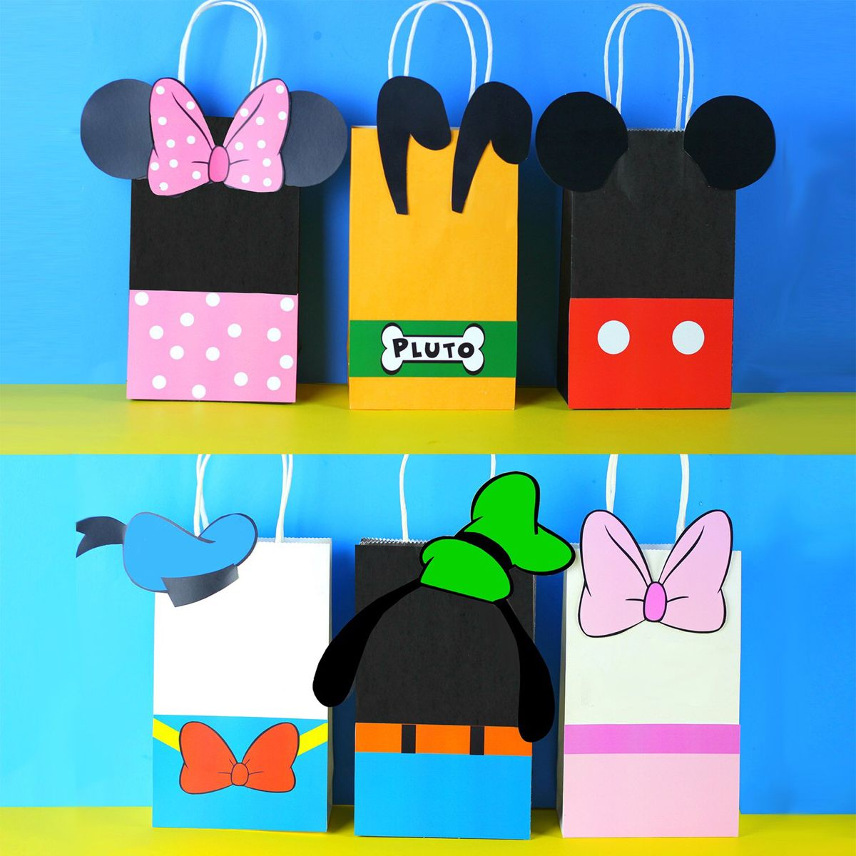 Mickey Mouse goodie bags Disney inspired birthday decorations Mickey and Minnie party gift bags 1st birthday treat bags Clubhouse favors
