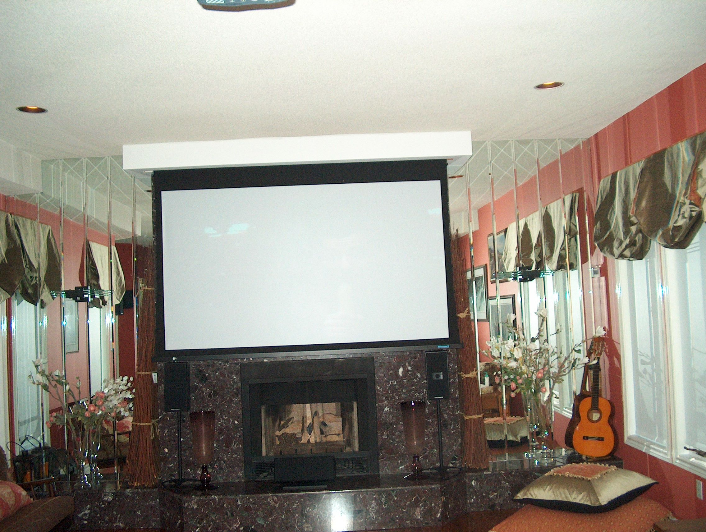 Drop down automated screen for this media room