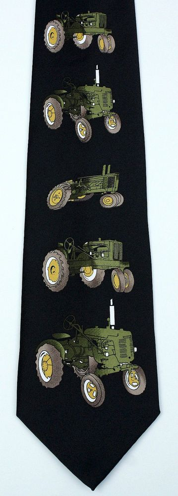 New Little Green Tractor Mens Necktie Farming Farm Tractor Farmer Black Neck Tie #StevenHarris #NeckTie