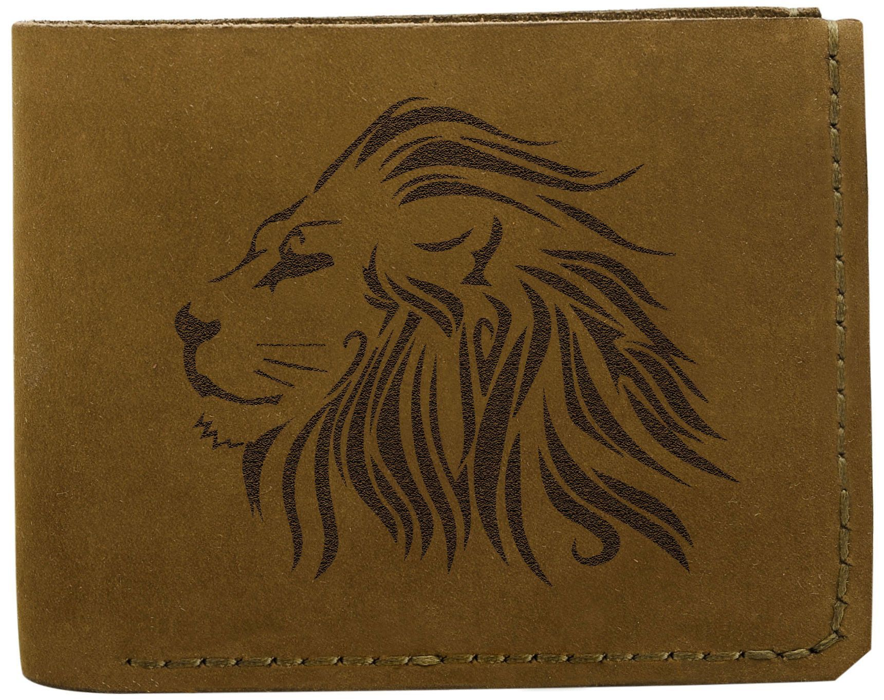 Vietsbay Men's Lion Head 19 Handmade Genuine Pull-up Leather Wallet