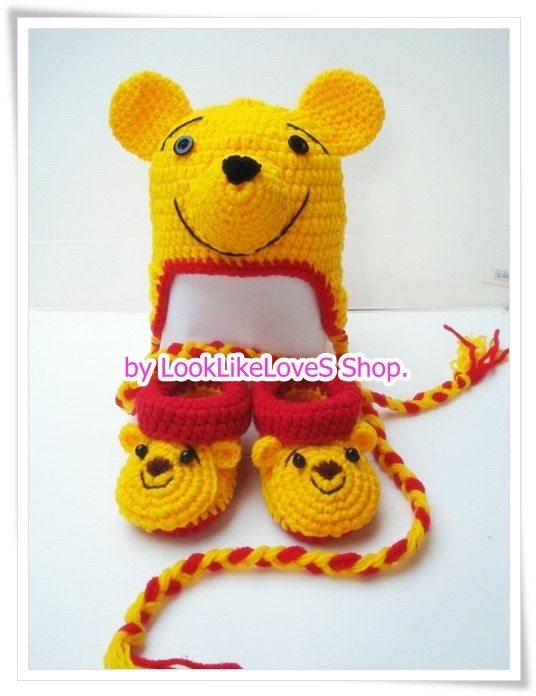 Winnie the Pooh Crochet hat and Shoes Set 012 by LookLikeLoveS ... 73d67cc8f93