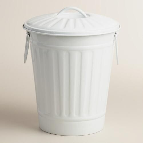 Matte White Retro Metal Trash Can With