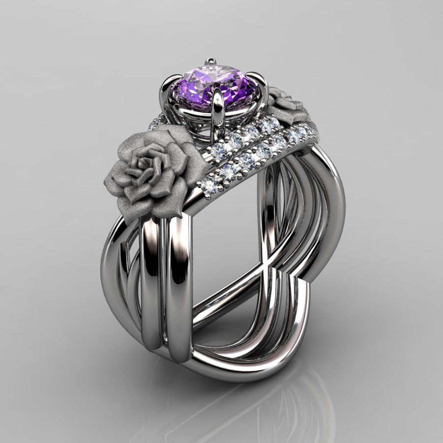 nature inspired 14k white gold 10 ct amethyst diamond rose vine engagement ring wedding band set - Amethyst Wedding Rings