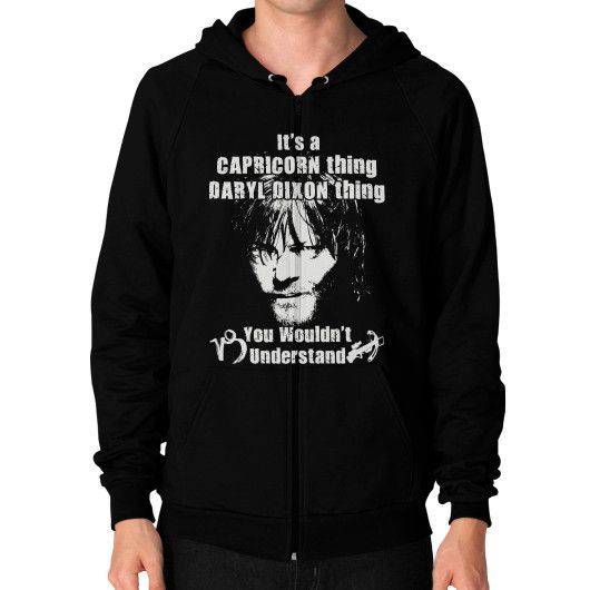 Capricorn thing Zip Hoodie (on man)