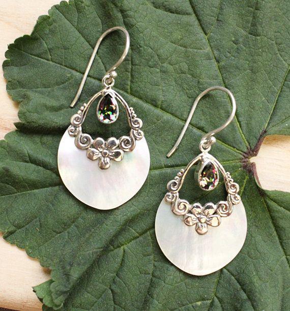 Sterling Silver .925 Teardrop White Shello and Mystic Quartz Florettes Earrings