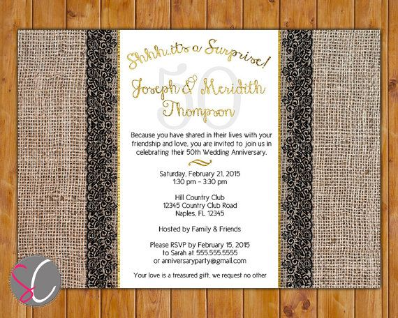 Surprise party golden wedding th anniversary invite burlap and