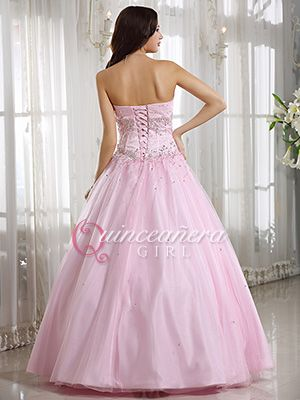 3fd9e50e8b0 Pink Puffy Beaded Sweetheart Corset Tulle Satin Long Quinceanera Dress -  US 174.59 - Style Q0032 - Quinceanera Girl