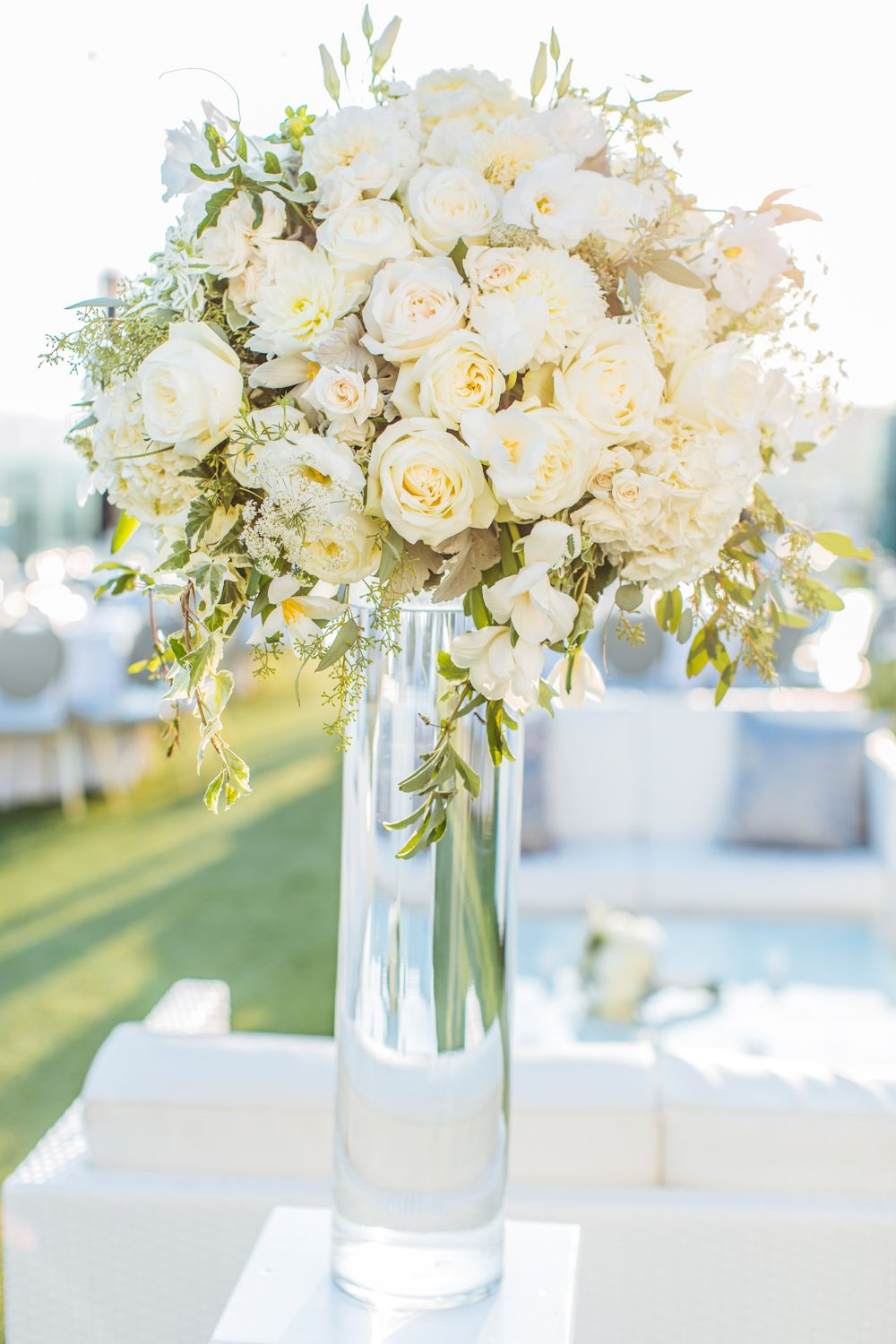 Tall white arrangement centerpiece modern