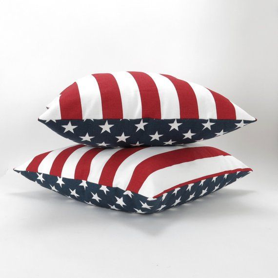Reversible Pillow Covers, Stars And Stripes, Set Of Two
