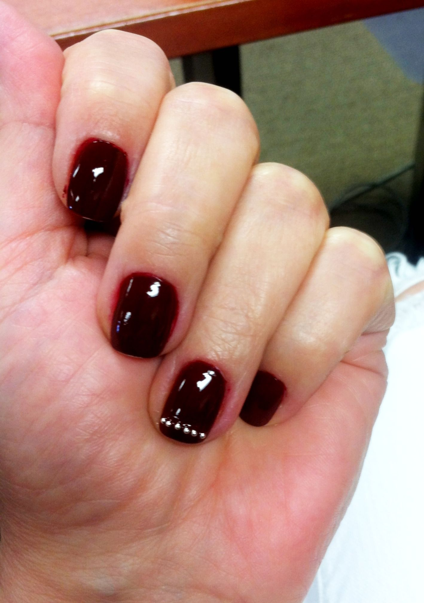 Orly Vixen with simple silver pearl nail art | Nail Style | Pinterest