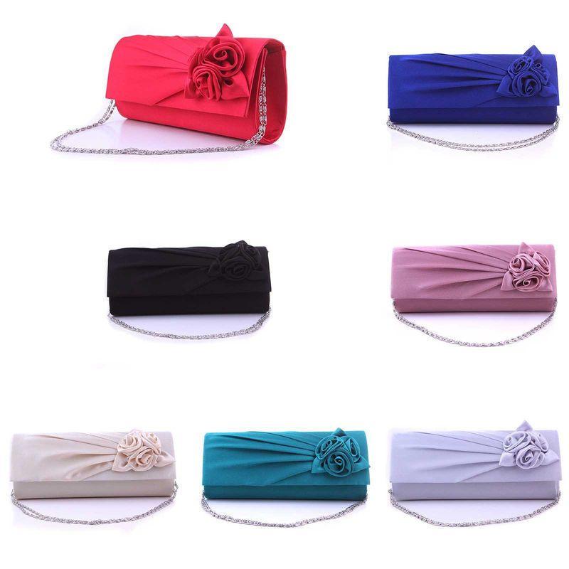 2013 Brand Black Royal Blue Silver Gray Red Rose Flower Wedding Evening Clutch Handbag Bag Free Shipping