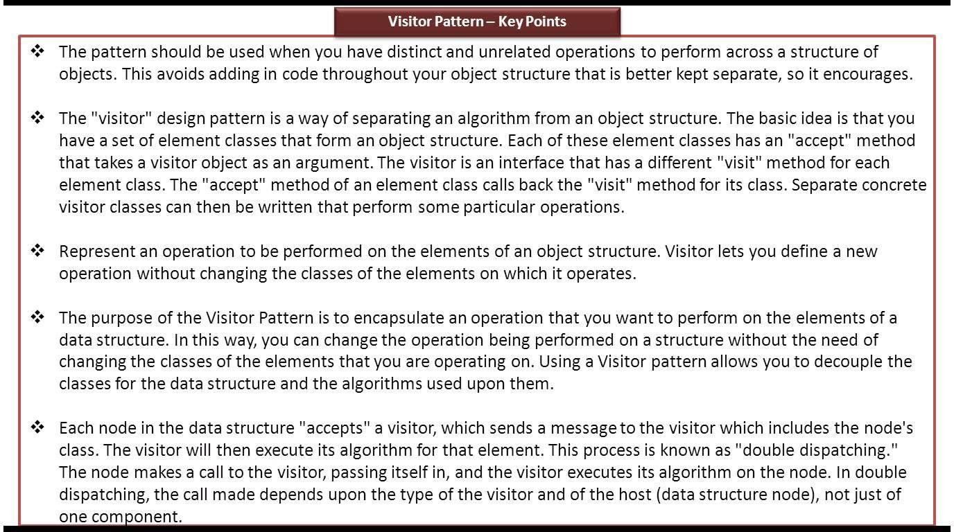 Visitor Design Pattern Keypoints Pattern Design Pattern Design