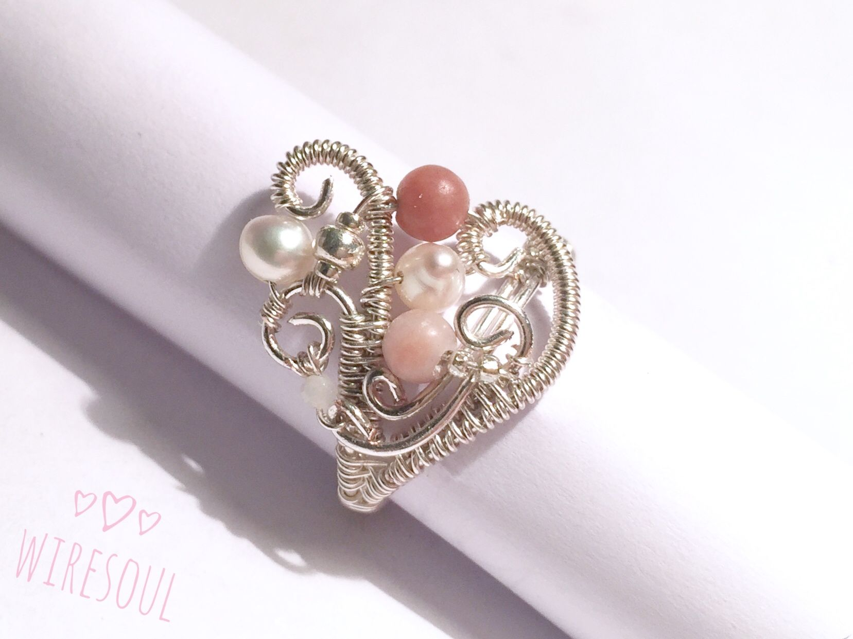 Wire jewerly, wire ring, pearl, rodonit, rose quartz | wire wrapped ...