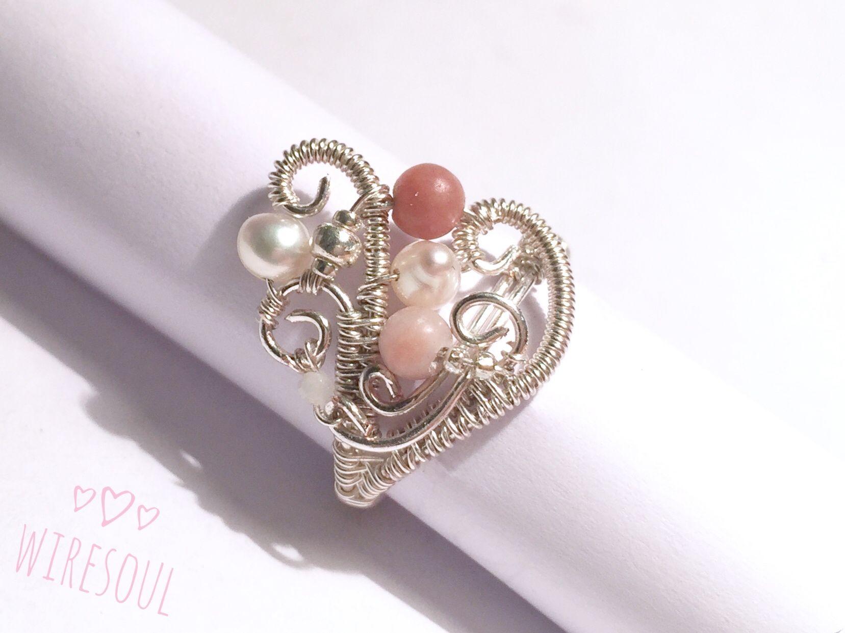 Wire jewerly, wire ring, pearl, rodonit, rose quartz | lungu olimpia ...