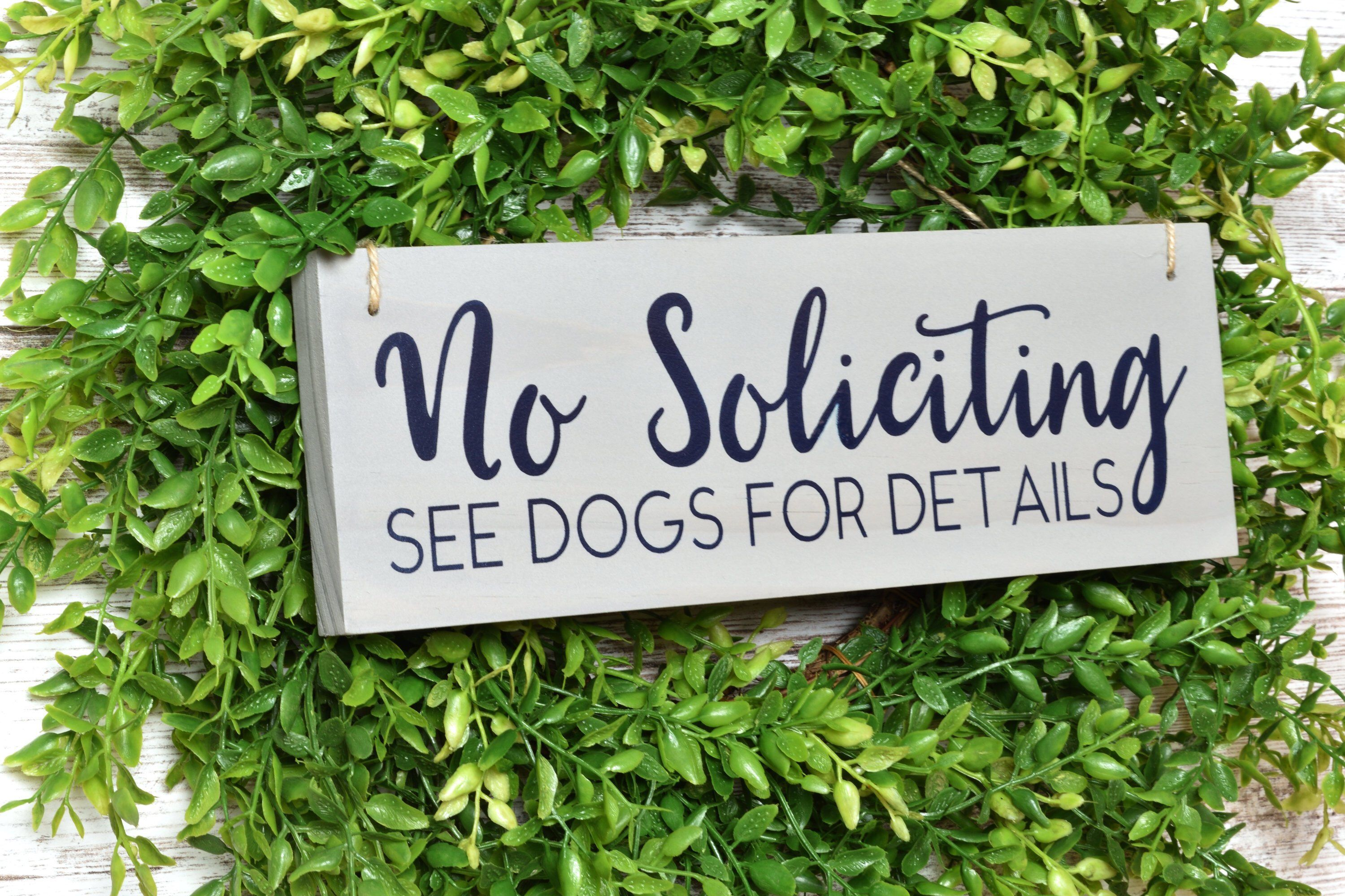 No Soliciting See Dog For Details | No Soliciting Wood Sign | Funny No Soliciting Sign | No Soliciting Dog Sign | No Soliciting Wreath Sign