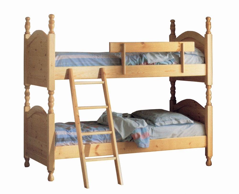 Letto a castello divisibile rustico in legno massello di - Letto a castello in legno massello ...