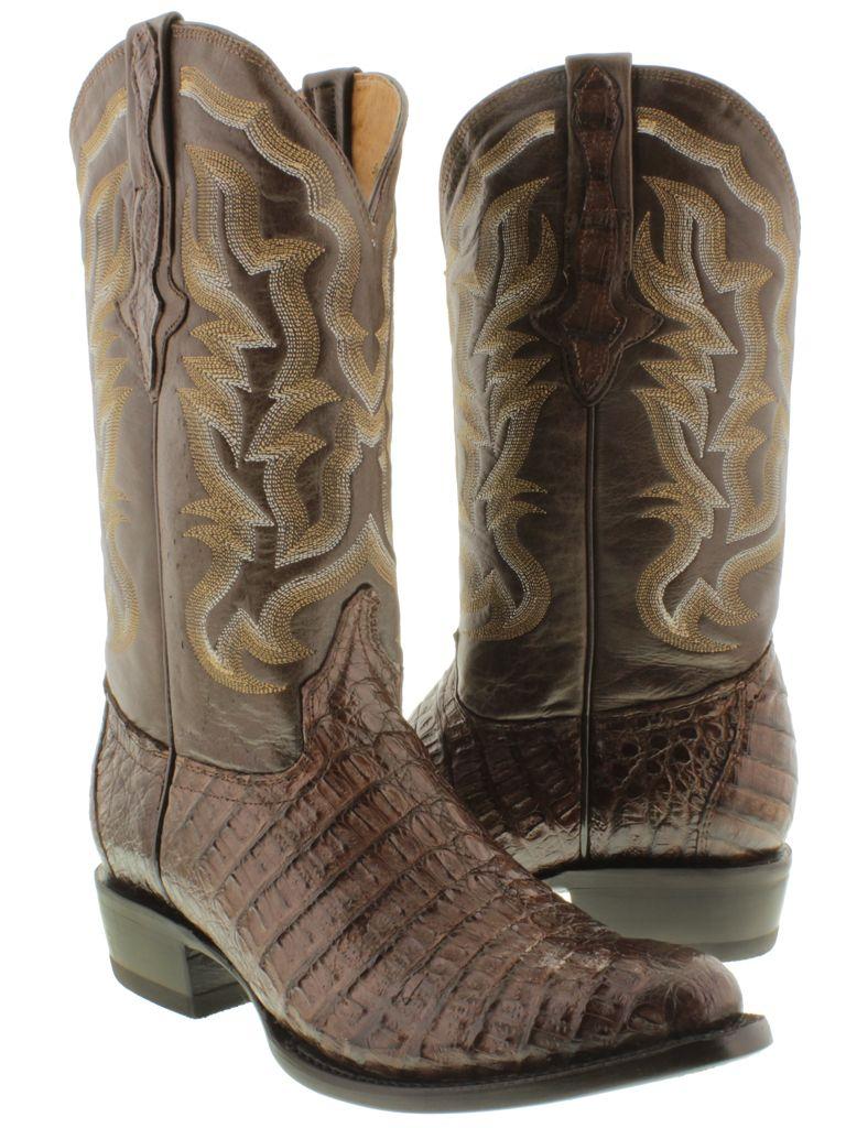 bcca3438ce8 Men's brown genuine crocodile alligator flank cut cowboy boot ...