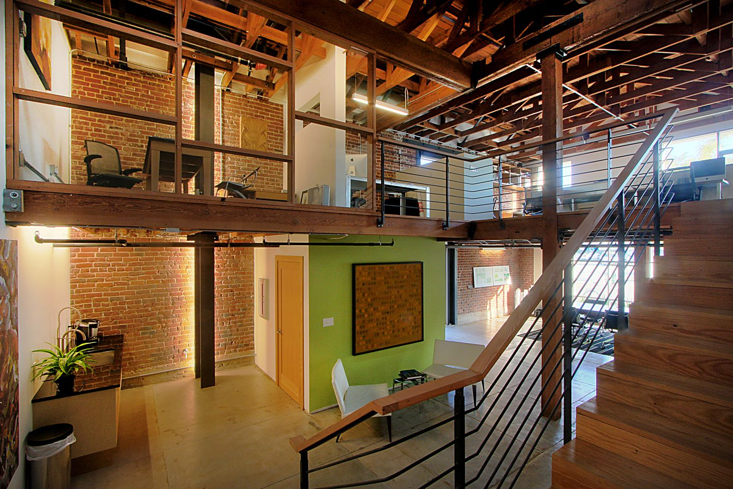 Brick, Wood, Green Wall : Design ideas : Pinterest : Office spaces, Creative office space and ...