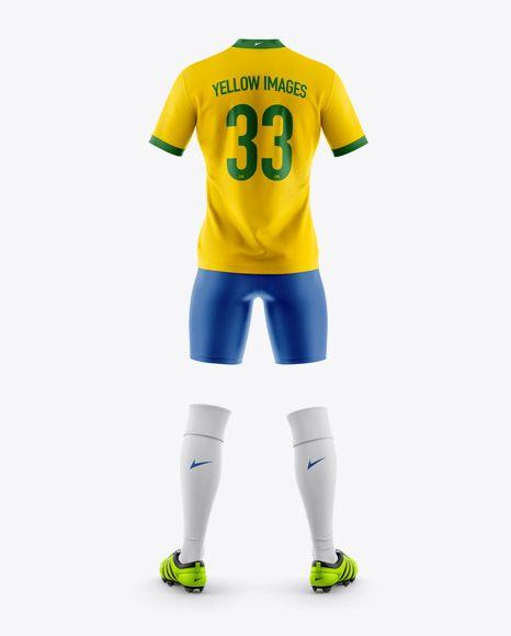 Men S Full Soccer Kit Mockup Back View In Apparel Mockups On Yellow Images Object Mockups Clothing Mockup Shirt Mockup Soccer Kits